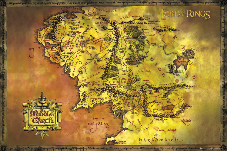 mapa śródziemia z władcy pierścieni
