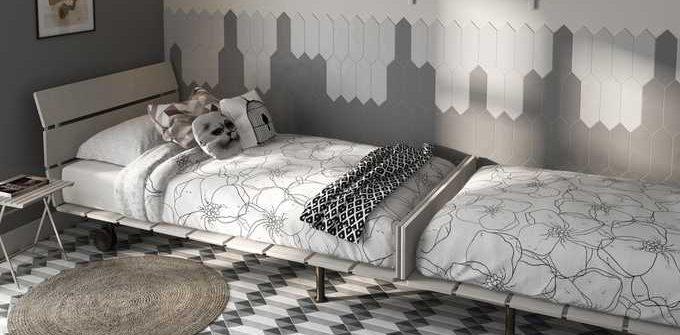 heksagonalne płytki w sypialni