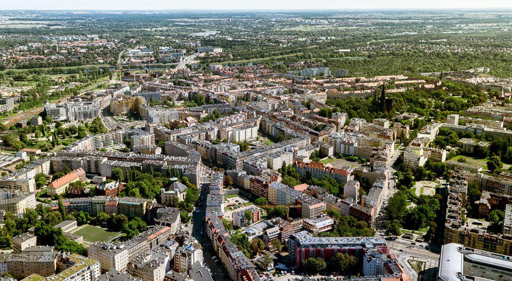 Wrocław - widok na centrum z lotu ptaka