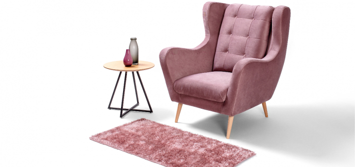 uszak fotel rozowy
